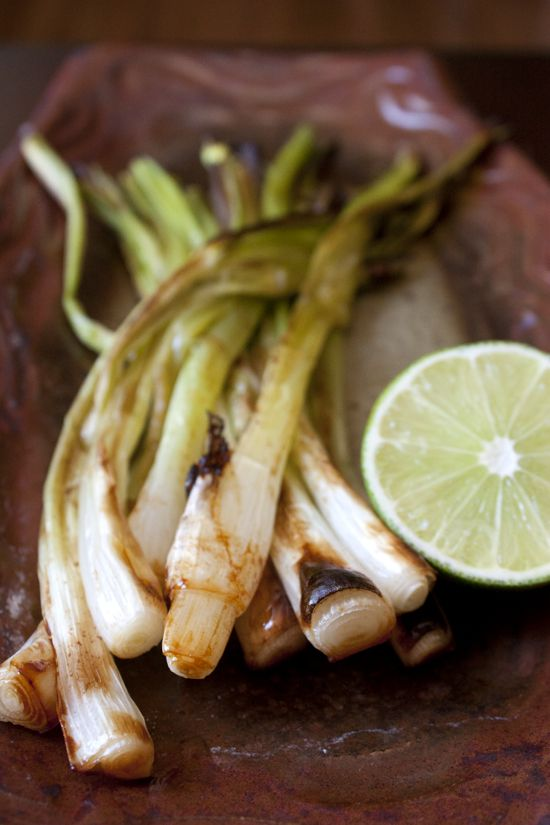 Grilled green onions with butter and soy from Muy Bueno Cookbook