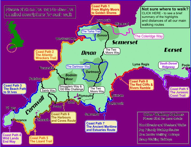 South West Coast Path Walking Map Cornwall Devon Somerset and Dorset UK