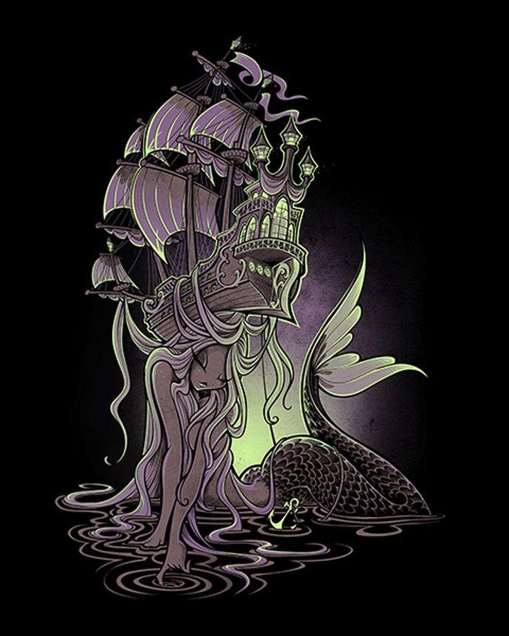 Sailors Beware by Jehsee Siren Mermaid Sailors Ship Canvas Art Print –…