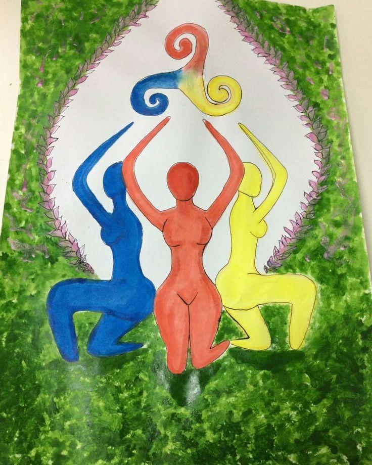 """Releitura da obra """"AS TRÊS GRAÇAS"""" do pintor belga Peter Paul Rubens. O símbolo celta, é um símbolo dá feminilidade onde faz uma invocação a deusa tripla, onde estaria inserido as 3 fases dá mulher (virgem, mãe e velha) a simbologia das cores retrata a unificação delas em uma só, e a posição (de joelhos) e uma reverência as próprias mulheres."""
