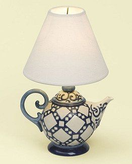 Jim Shore Teapot Lamp Blue