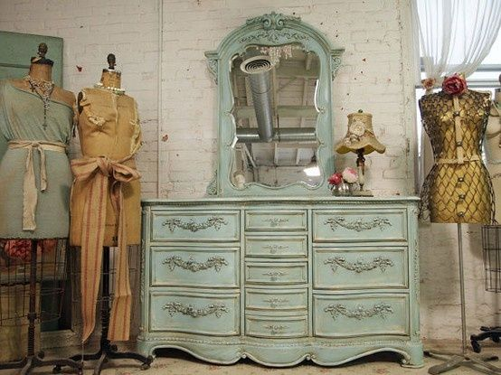 shabby sheek decor. i like this dresser. it has a lot of character