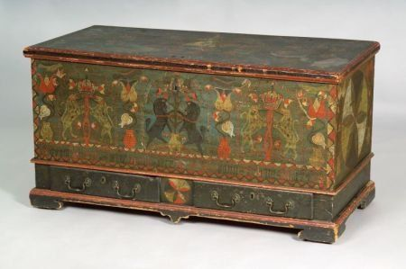 "Painted and Decorated Poplar Black Unicorn Chest, inscribed ""Bern, Berks County [Pennsylvania], Adam Minnich 1796,"""