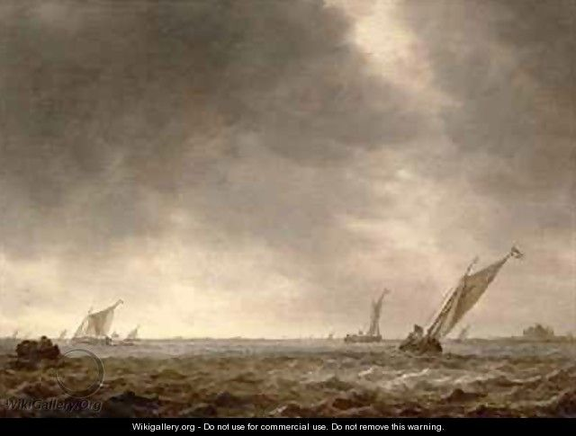 Jan van Goyen - Fishing Smacks in a Squall at the Mouth of a River - Jan van Goyen