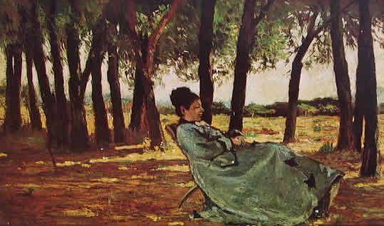 GIOVANNI FATTORI-La signora Martelli a Castiglioncello cm. 20 x 33 Livorno Museo Fattoriano