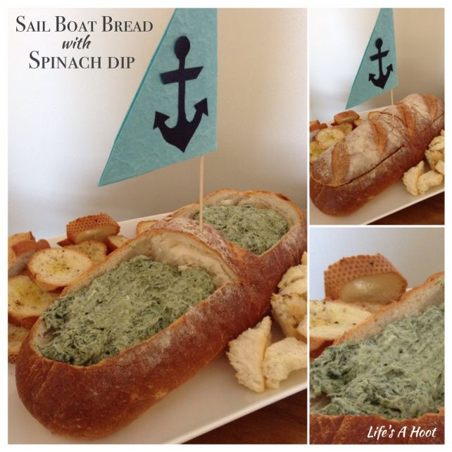 Sailboat Bread with Spinach Dip. Entree, nibbles, bite size for nautical or boat themed party. Just like a Cob Loaf with Spinach Dip. www.hootlife.wordpress.com