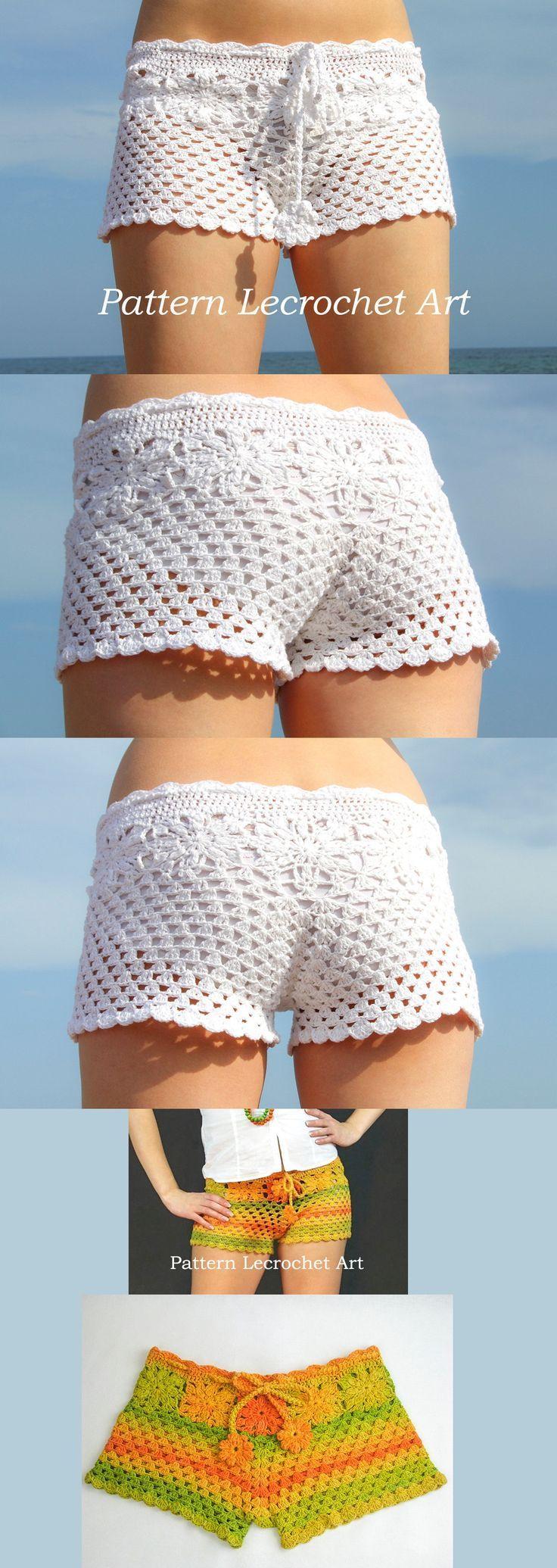 Crochet padrão calções de praia branca e calções cor do verão - PDF padrão: