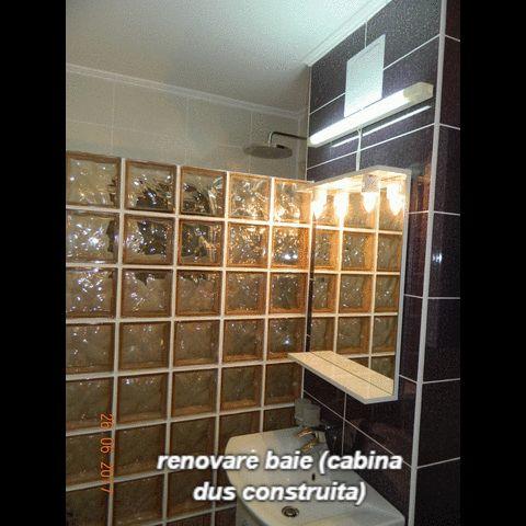renovare baie (cabina dus construita,mozaic,caramizi sticla) – amenajare BAIE,BUCATARIE,amenajari interioare PLOIESTI