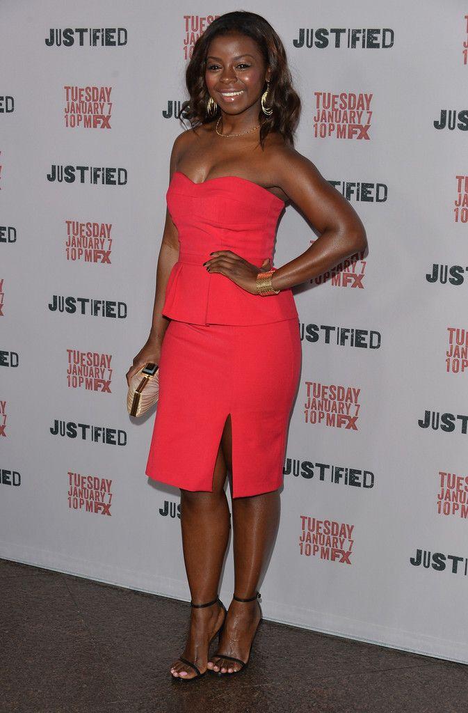 Erica Tazel's Justified Season 5 Premiere Screening BCBGMAXAZRIA Penelope Strapless Bustier Peplum Dress