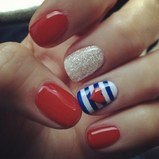 Glitter red, white and blue, this 4th of July gel manicure is perfect for you.    Photo Credit: Pinterest