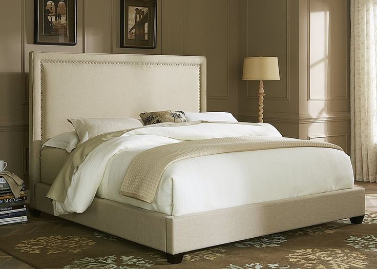 Perfect for a more eclectic feel to your bedroom. These beds with the case goods to add a more unique appeal. The headboards also work great by themselves by adding a bed frame. Panel Bed features satin nickel nail head trim accenting the front panel with additional welting around the frame.