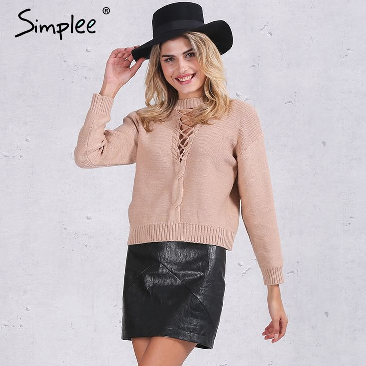 US $14.79 -- Simplee Lace up winter knitted sweater Women casual black halter twist pullover Autumn 2016 long sleeve nude jumper pull femme aliexpress.com