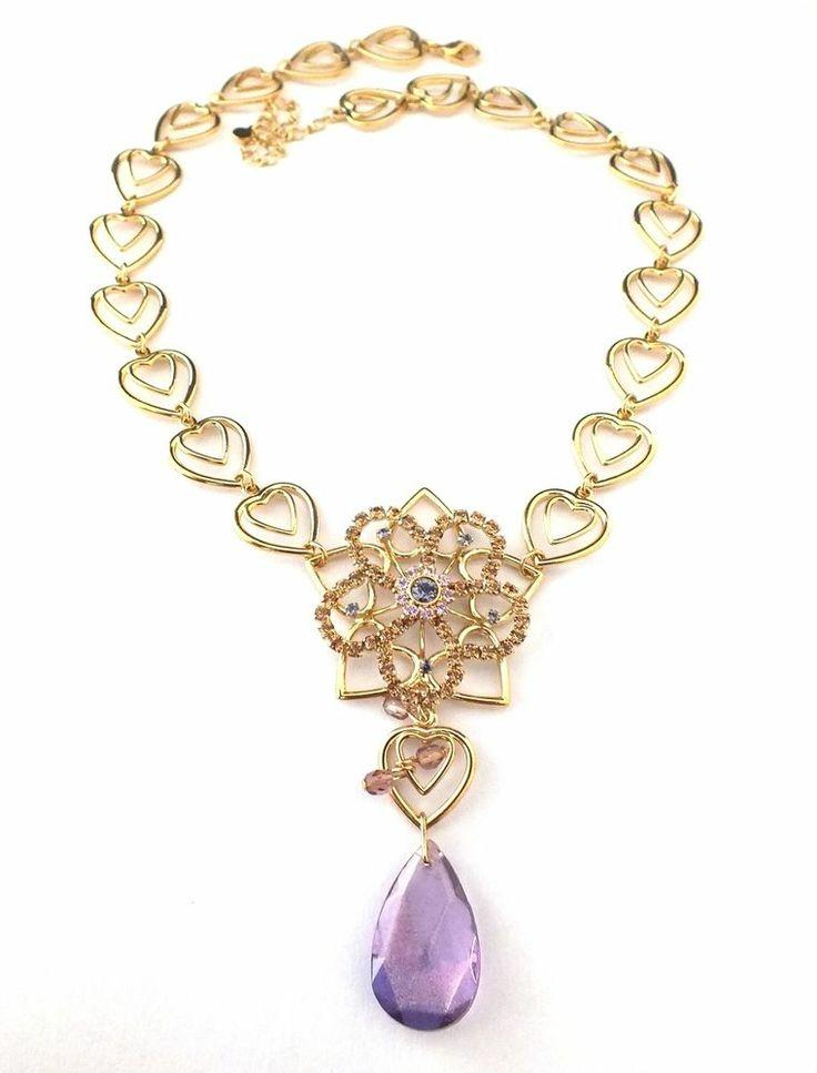 Herz Collier mit Strass und Glasperlen   1A-Qualität von Jablonex - Hearts Necklace with Rhinestones & Glass Beads