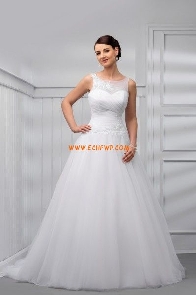 Escote Barco Apliques Natural Vestidos de novias 2014