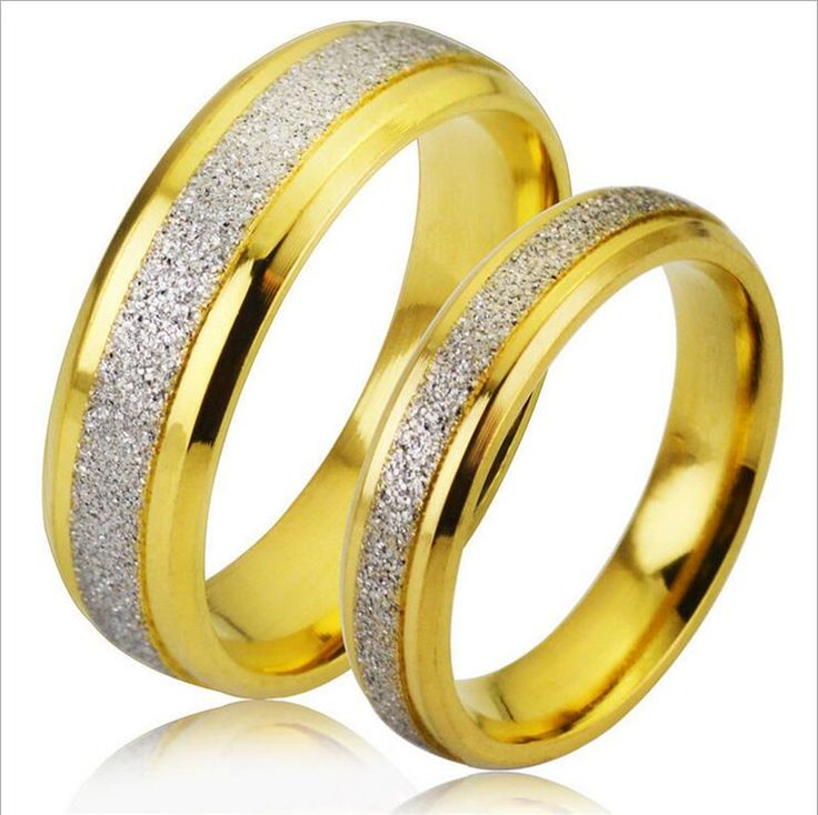 Classic golden & silver Titanium Steel Scrub couple rings Finger Rings suitable for party Wedding Engagement Rings free shipping