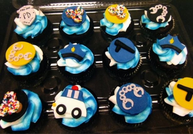 Police Themed Edible Fondant Cupcake Toppers 12 Pieces