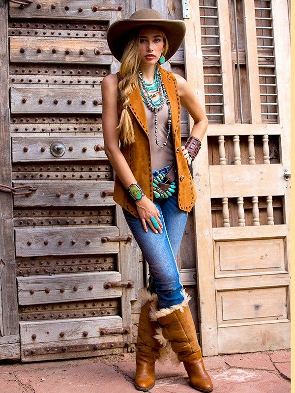 Sueded Vest ❤ Cowgirls Fashions Western Style Pendulum on Braided 6 strand
