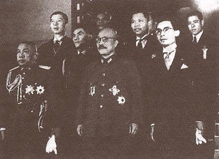 Thai Prime Minister Phot Phahonyothin (far left) with Japanese Prime Minister Hideki Tōjō (center) in Tokyo, Japan, 1942
