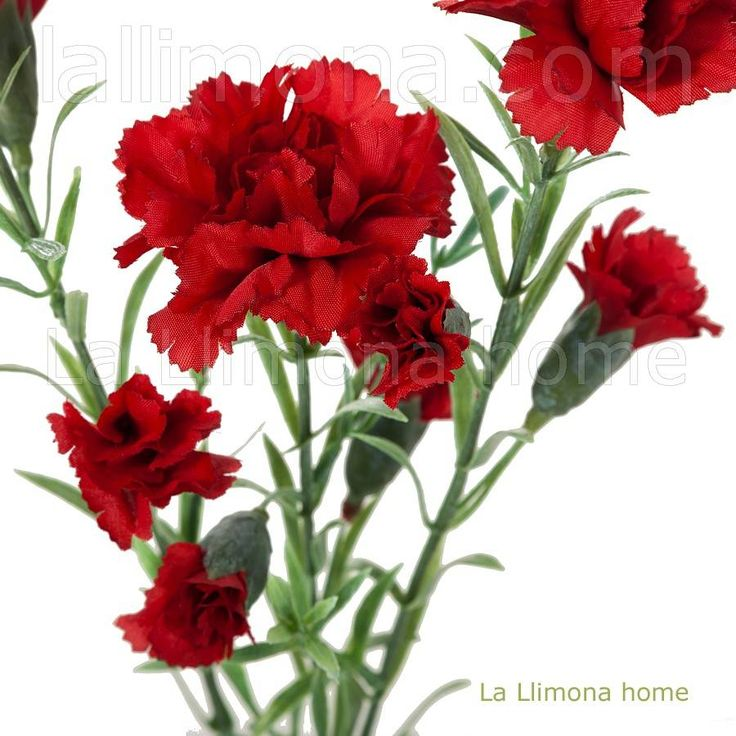 Rama de clavellinas artificiales de color rojo http www - Plantas artificiales decorativas ...