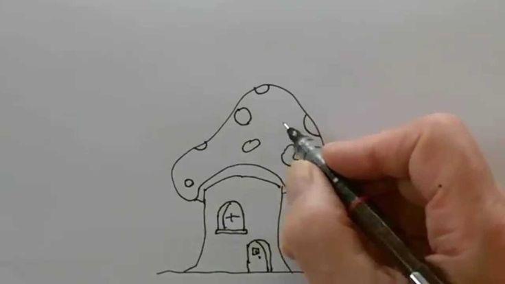 how to draw a mushroom house