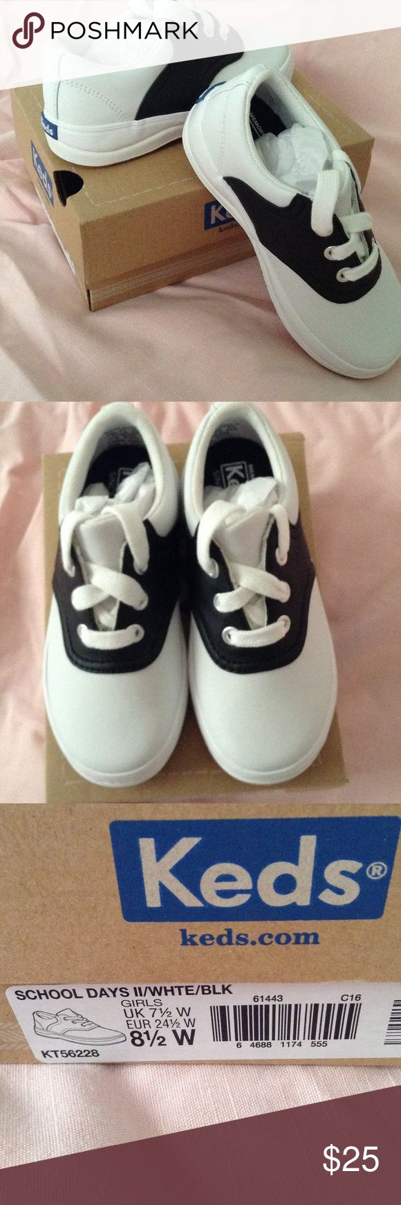 Keds Black and White Toddler Shoes Size 8 1/2 Wide New, in box. Keds School Days shoes. Toddler Girls size 8 1/2 wide. Leather upper. No defects. Perfect condition. Keds Shoes Sneakers