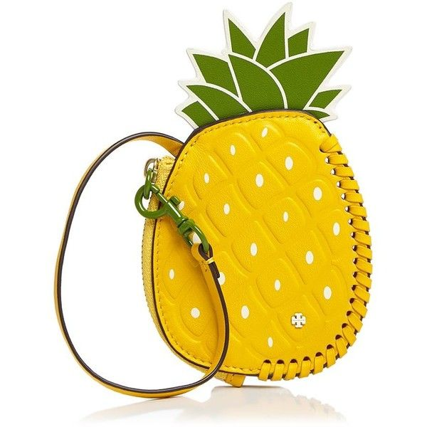 Tory Burch Pineapple Leather Coin Pouch ($125) ❤ liked on Polyvore featuring bags, wallets, leather wallets, leather coin pouch, tory burch bags, real leather wallets and change purse wallet