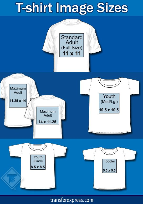 Sizing chart with several common sizes for design images added to t-shirts. Learn more at TransferExpress.com