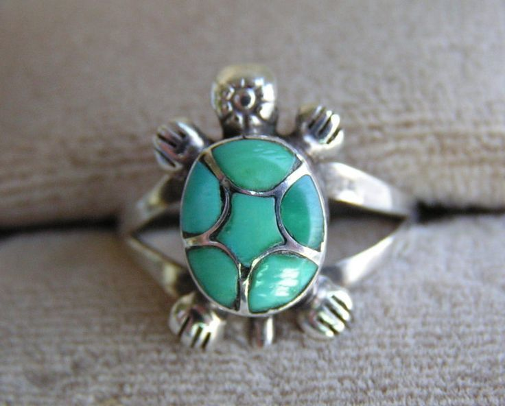 Native American Turquoise Rings | Stirling Silver and Turquoise Turtle Ring Native American