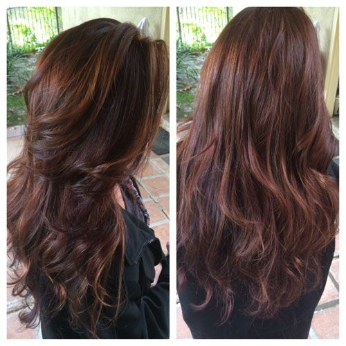 We are loving this hair color formula to create a rich chocolate brown with highlights.