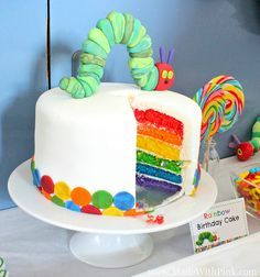 A Very Hungry Caterpillar Birthday Party - Rainbow Cake via Made With Pink