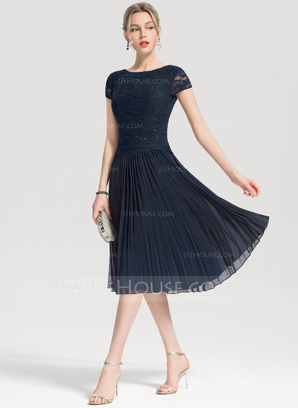 69c0568ee07 A-Line Princess Scoop Neck Knee-Length Chiffon Cocktail Dress With Sequins  Pleated