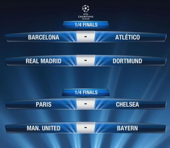UEFA Champions League Draw Quarter-Finals (March 2014)  THE DRAW Barcelona v Atletico Madrid Real Madrid v Borussia Dortmund Paris Saint Germain v Chelsea Manchester United v Bayern Munich