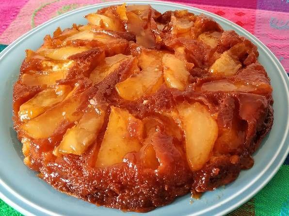 Torta Invertida De Peras Y Manzanas Receta De Kathrin Receta Torta Invertida Tortas Torta Invertida De Manzana