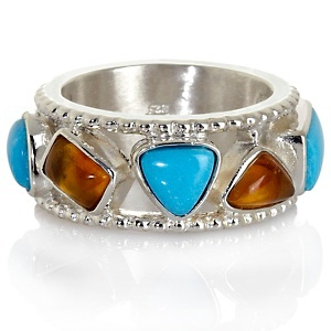Turquoise and Amber Band Ring. gorgeous!