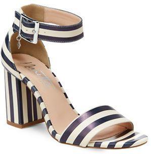 Nanette By Nanette Lepore Tilda Awning Striped Block Heel Sandals - $79.00