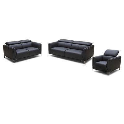 Wade Logan Rodolfo 3 Piece Leather Living Room Set