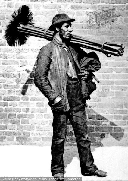 London, Sweep 1884. Mayhew reports that sweepers were a tight-knit community. Master sweepers often let rooms to families in the same trade. The climbing boys, often from the Workhouse, earned 2d or 3d a day, but were sometimes given an extra 6d by grateful householders. They climbed easily up through wide flues using their elbows and legs but often got stuck or nearly suffocated in narrow nine-inch chimneys.