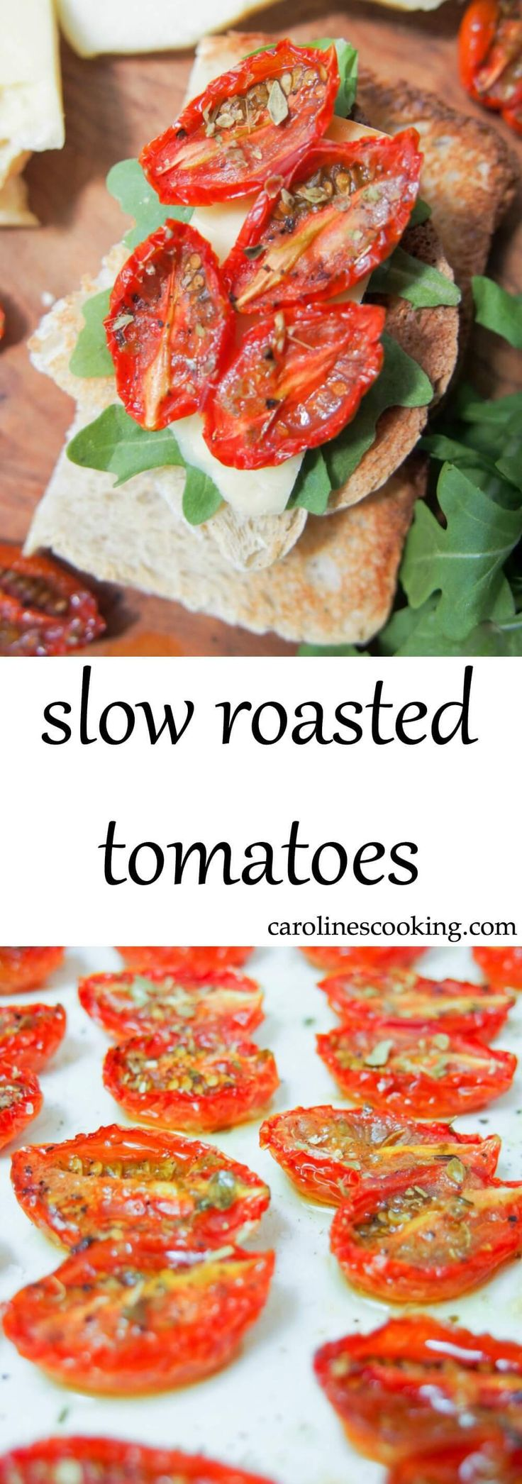 slow roasted tomatoes - Intensely tomato-ey without being overpowering, gently dried but still juicy inside, these slow roasted tomatoes make such a delicious little bite. Great to snack on, with cheese and bread or in pasta.
