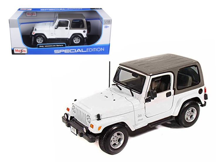 Jeep Wrangler Sahara White 1/18 Diecast Model Car by Maisto - Brand new 1:18 scale diecast model of Jeep Wrangler Sahara White die cast model car by Maisto. Has steerable wheels. Brand new box. Rubber tires. Has opening hood, doors and trunk. Made of diecast with some plastic parts. Detailed interior, exterior, engine compartment. Dimensions approximately L-8.5, W-5.5, H-4 inches. Please note that manufacturer may change packing box at anytime. Product will stay exactly the same.-Weight: 4…