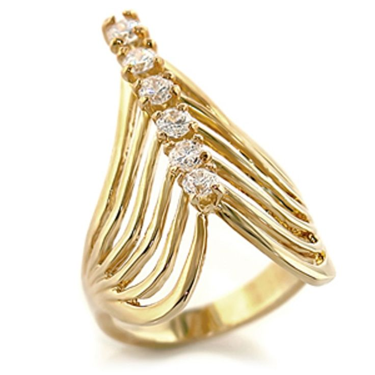 Cubic Zirconia Index Finger Ring - Ribbed 14K Yellow Gold Plated