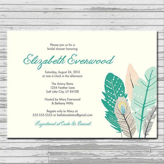 Feathers Aqua Turquoise Bridal Shower by bellaloveletters on Etsy, $9.00