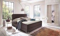 Designerbetten mit schönen Stoffbezug dunkelbraun mit Bettkasten
