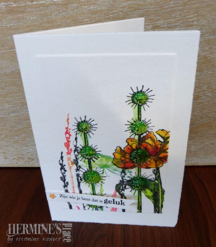 Dit kaartje gemaakt gewoon omdat ik daar zin in had en het zonnetje al heerlijk schijnt. De bloemen en planten stempels zijn allemaal van Art Journey, de tekst is van The Stamping Cottage. Made thi…