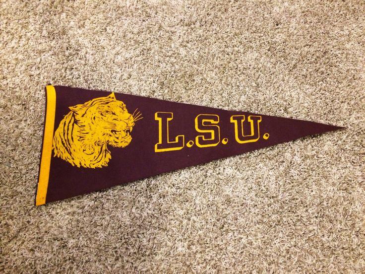 Vintage College Pennant Football LSU University purple Felt School Pennant Flag 1940s-1960s by PineappleJune on Etsy