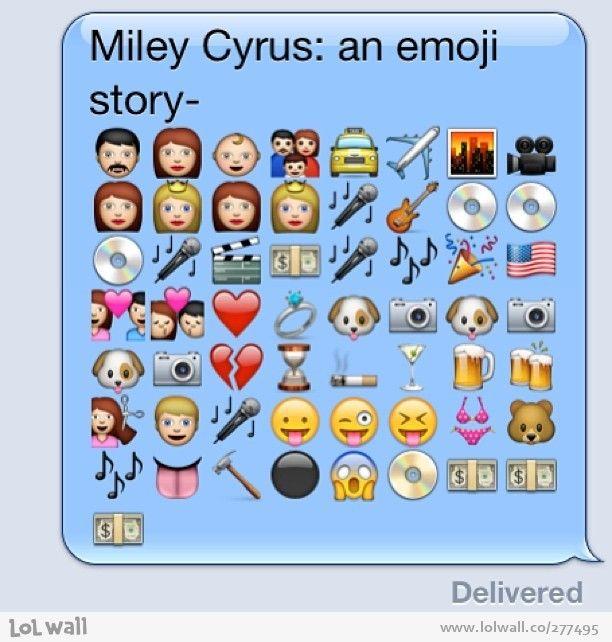 Biography of Miley Cyrus in emoji
