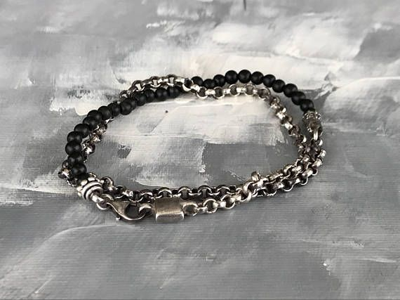 Bracelet for Men in Sterling Silver 925 (4mm wide Chaine) and round Onix (4mm).