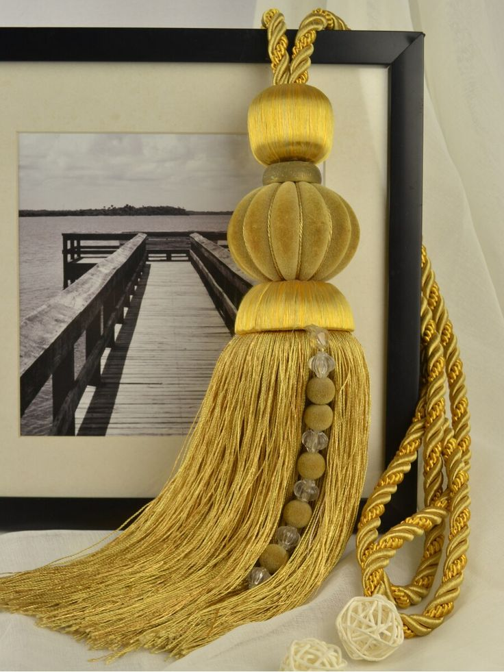 7 Colors QYM34 Polyester and Acrylic Curtain Tassel Tie Backs in Orange Color