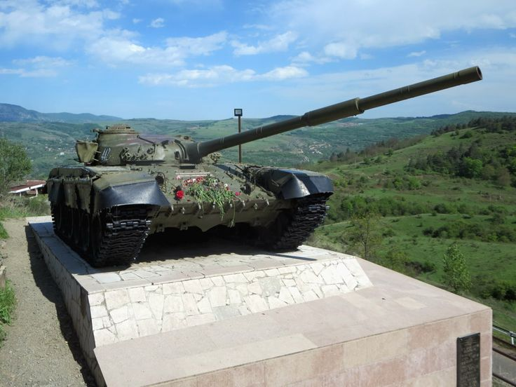 This T-72 tank used in the capture of Shushi by Armenian forces on May 8, 1992, overlooks the main highway from Stepanakert, Republic of Nagorno Karabakh.