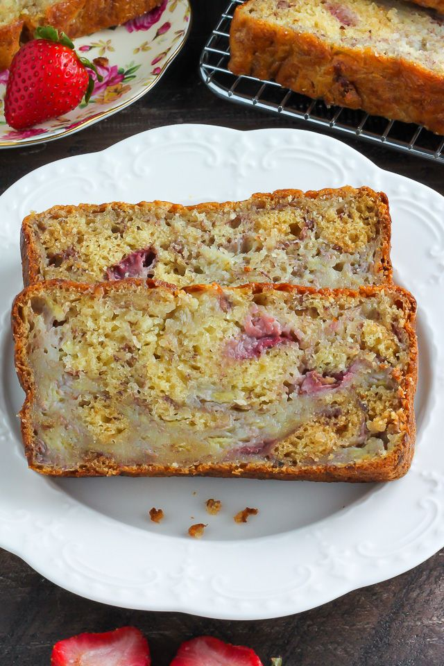 Greek Yogurt Strawberry Banana Bread - our favorite banana bread in the Summer!