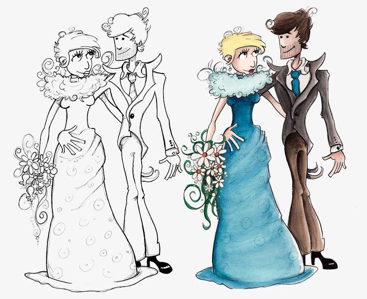 Illustration für eine Hochzeitseinladung. www.gezeichnet.com #hochzeit #einladung #illustration #halloween